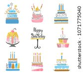 hand drawn birthday cakes big... | Shutterstock .eps vector #1071775040