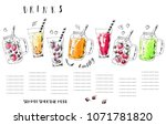 hand drawn summer fruit... | Shutterstock .eps vector #1071781820