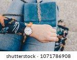 street style fashion details.... | Shutterstock . vector #1071786908