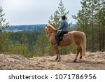 woman horseback riding in forest | Shutterstock . vector #1071786956