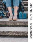 street style fashion lower... | Shutterstock . vector #1071787430