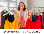 attractive stylish smiling... | Shutterstock . vector #1071790259