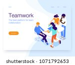 people work in a team and... | Shutterstock .eps vector #1071792653