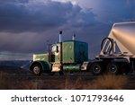big rig classic green semi... | Shutterstock . vector #1071793646
