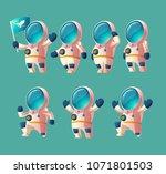 vector set of cartoon spaceman... | Shutterstock .eps vector #1071801503