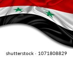 curved syrian flag with white... | Shutterstock . vector #1071808829