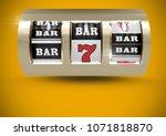 casino slot machine in front of ...   Shutterstock . vector #1071818870