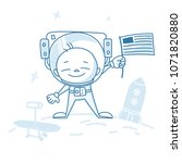 astronaut character with flag.... | Shutterstock .eps vector #1071820880