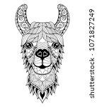 llama alpaca mandala zentangle... | Shutterstock .eps vector #1071827249