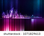 night cityscape with... | Shutterstock . vector #1071829613