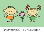 cute children waving hand  boy... | Shutterstock . vector #1071829814