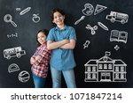 happy schoolchildren. positive... | Shutterstock . vector #1071847214