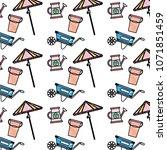 doodle handcart with watering... | Shutterstock .eps vector #1071851459