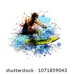 colored hand sketch surfer.... | Shutterstock .eps vector #1071859043