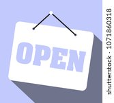 sign saying we are open on... | Shutterstock .eps vector #1071860318