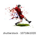 colored hand sketch soccer.... | Shutterstock .eps vector #1071861020