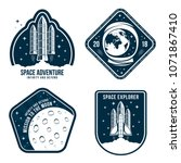 space badges with astronaut... | Shutterstock .eps vector #1071867410