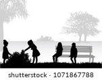 silhouettes of children... | Shutterstock .eps vector #1071867788
