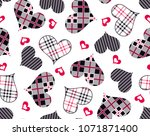 hearts pattern from plaid and... | Shutterstock .eps vector #1071871400