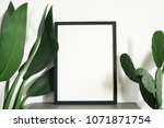 black frame poster with leave... | Shutterstock . vector #1071871754