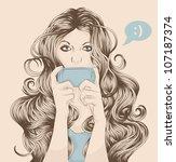 woman sending text message on... | Shutterstock .eps vector #107187374