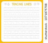 basic writing. trace line... | Shutterstock .eps vector #1071875708