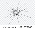 broken glass  cracks  bullet... | Shutterstock .eps vector #1071875840