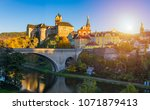 colorful town and castle loket... | Shutterstock . vector #1071879413
