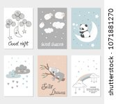set of night cards with cute... | Shutterstock .eps vector #1071881270