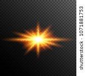 light burst effect. glowing sun ... | Shutterstock .eps vector #1071881753