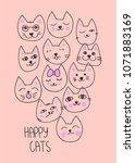 happy cats typography slogan...   Shutterstock .eps vector #1071883169