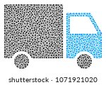 shipment van collage of dots in ... | Shutterstock .eps vector #1071921020
