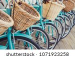 retro bicycles in a row | Shutterstock . vector #1071923258