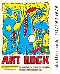 art rock gig poster flyer... | Shutterstock .eps vector #1071925979