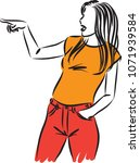 young woman pointing vector... | Shutterstock .eps vector #1071939584