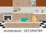 kitchen and  furniture | Shutterstock .eps vector #1071944789