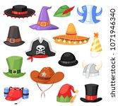 cartoon hat vector comic cap...   Shutterstock .eps vector #1071946340