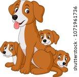 cartoon mother dog with her... | Shutterstock .eps vector #1071961736