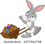 Stock vector cartoon rabbit pushing cart full of easter eggs 1071961748