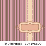 Frame with ribbon over pink and chocolate pinstripe background - stock photo