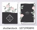 botanical wedding invitation... | Shutterstock .eps vector #1071990890