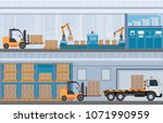 manufacturing warehouse... | Shutterstock .eps vector #1071990959