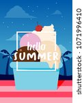 hello summer banner with ice... | Shutterstock .eps vector #1071996410