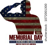 memorial day. remember and honor | Shutterstock .eps vector #1072001300
