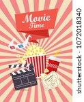movie time poster design. flat...   Shutterstock .eps vector #1072018340