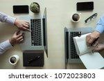 overhead view top view man... | Shutterstock . vector #1072023803