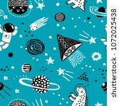 childish seamless pattern with... | Shutterstock .eps vector #1072025438