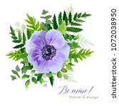 vector floral elegant botanical ... | Shutterstock .eps vector #1072038950