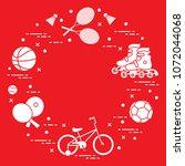 badminton rackets and... | Shutterstock .eps vector #1072044068