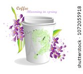 coffee spring lilac branch | Shutterstock .eps vector #1072055918